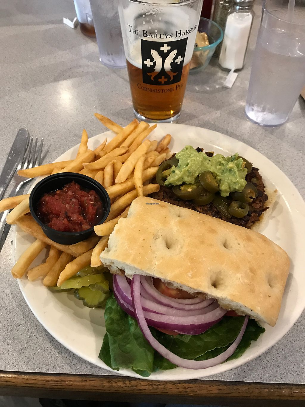 """Photo of Cornerstone Pub   by <a href=""""/members/profile/jch"""">jch</a> <br/>awesome bean burger at cornerstone! <br/> July 5, 2017  - <a href='/contact/abuse/image/77376/276943'>Report</a>"""