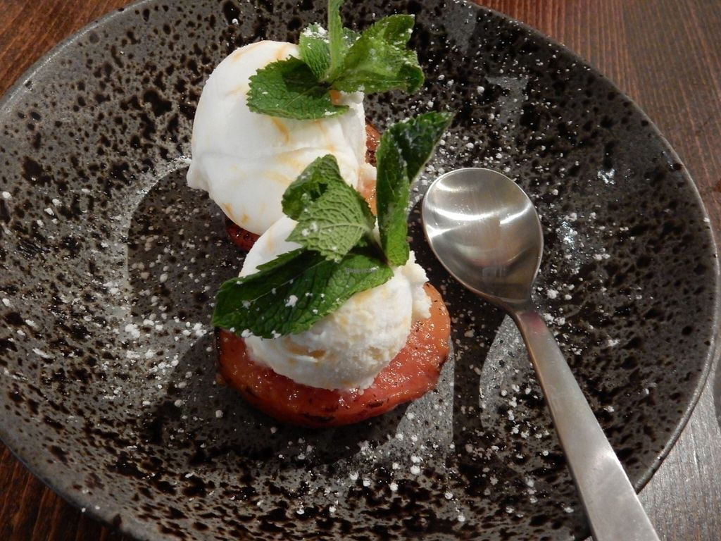 """Photo of Zizzi  by <a href=""""/members/profile/LilacHippy"""">LilacHippy</a> <br/>Roasted nectarine with sorbet (vegan dessert option.) <br/> July 29, 2016  - <a href='/contact/abuse/image/77393/163041'>Report</a>"""