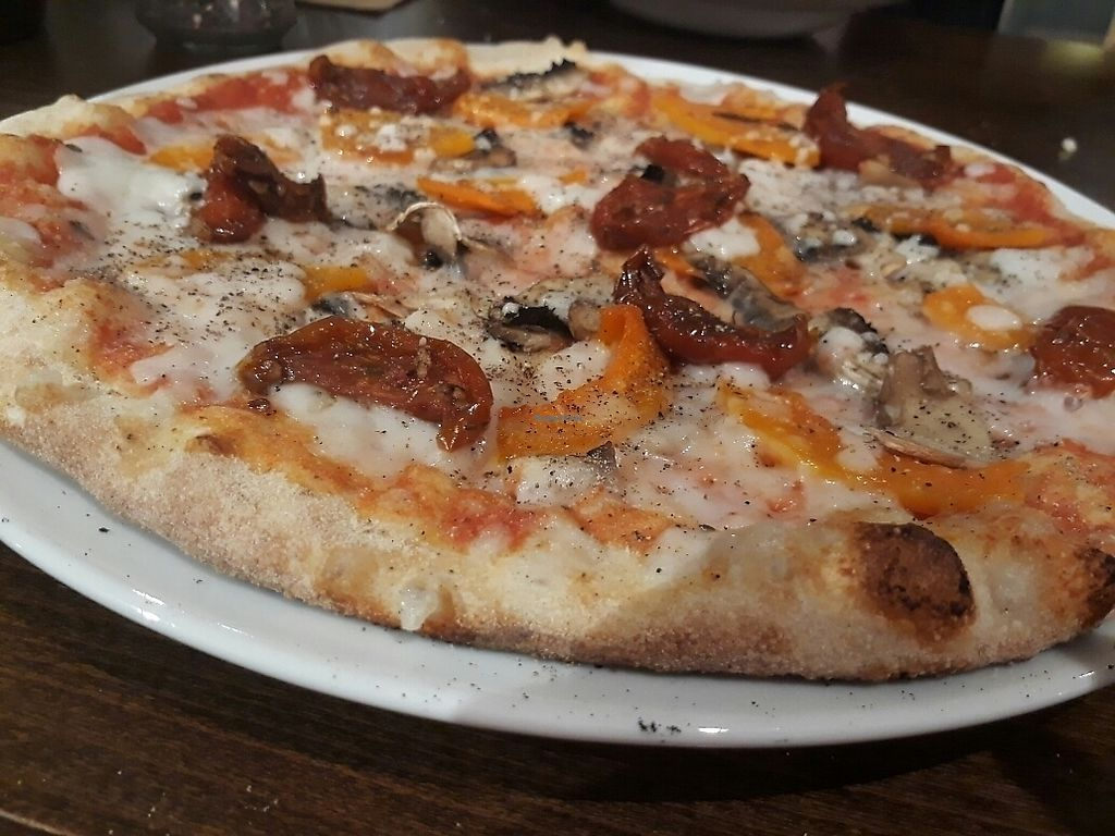 """Photo of Zizzi  by <a href=""""/members/profile/LilacHippy"""">LilacHippy</a> <br/>Dairy free vegan pizza with artichokes, balsamic tomatoes and butternut squash <br/> June 12, 2017  - <a href='/contact/abuse/image/77393/268493'>Report</a>"""