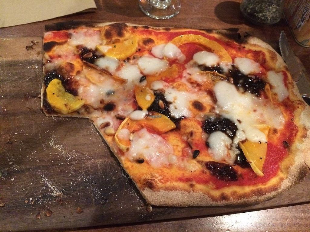 """Photo of Zizzi - Clifton Village  by <a href=""""/members/profile/macronencer"""">macronencer</a> <br/>Vegan Rustica Margherita pizza with butternut squash, pine nuts and caramelised balsamic onions. Yum! <br/> November 11, 2016  - <a href='/contact/abuse/image/77412/188727'>Report</a>"""