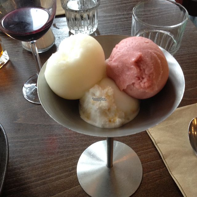 """Photo of Zizzi   by <a href=""""/members/profile/kaivalagiclare"""">kaivalagiclare</a> <br/>vegan sorbet options - lemon, coconut and strawberry <br/> September 22, 2016  - <a href='/contact/abuse/image/77413/177417'>Report</a>"""