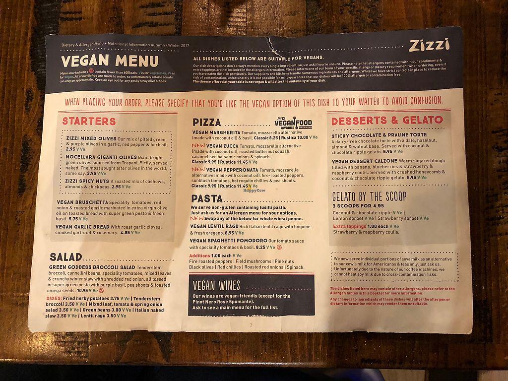 "Photo of Zizzi   by <a href=""/members/profile/scotteg"">scotteg</a> <br/>Vegan menu <br/> February 11, 2018  - <a href='/contact/abuse/image/77413/357932'>Report</a>"