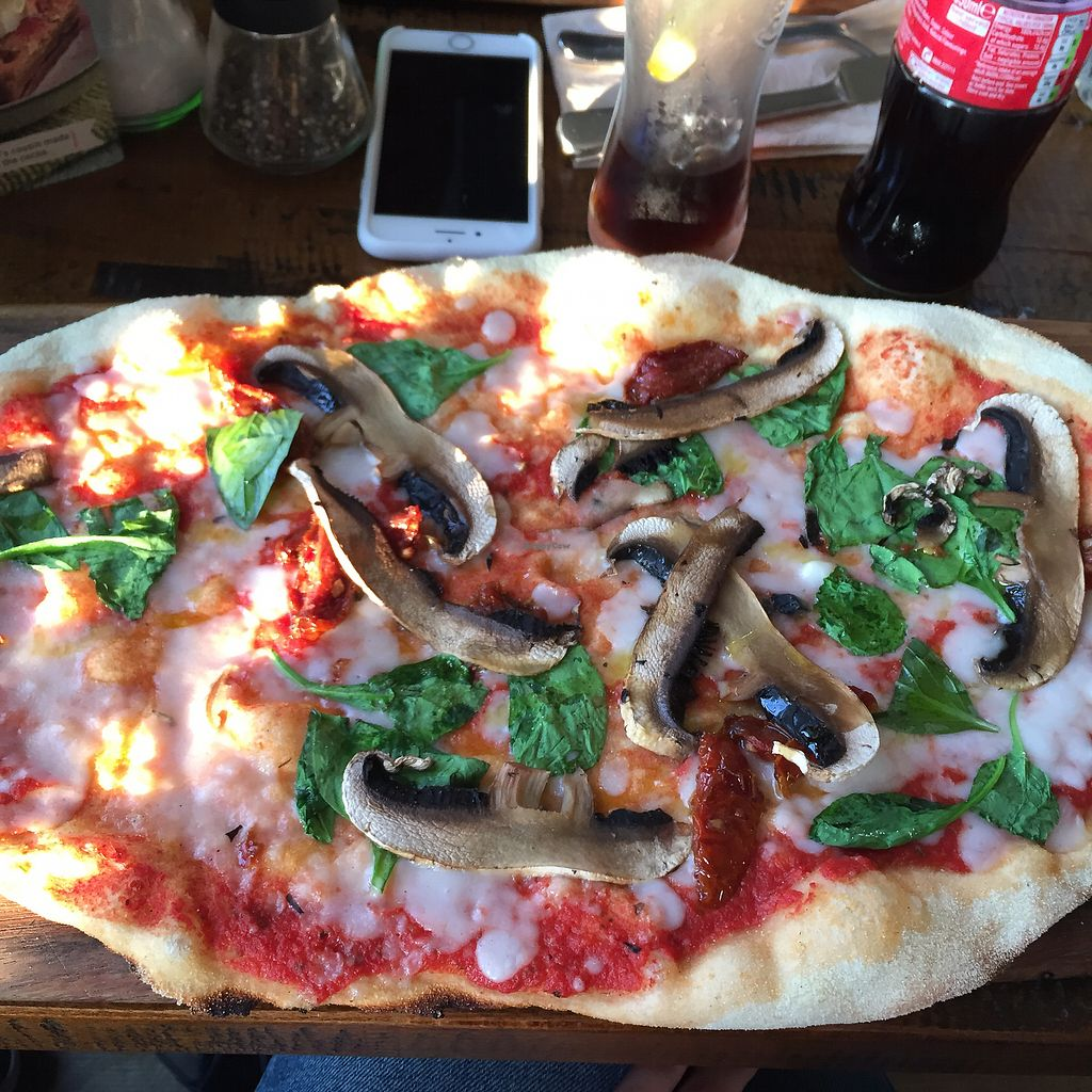 """Photo of Zizzi - Roxburgh Court  by <a href=""""/members/profile/emilia26"""">emilia26</a> <br/>Vegan pizza with mushrooms, spinach & tomatoes <br/> July 30, 2017  - <a href='/contact/abuse/image/77440/286620'>Report</a>"""