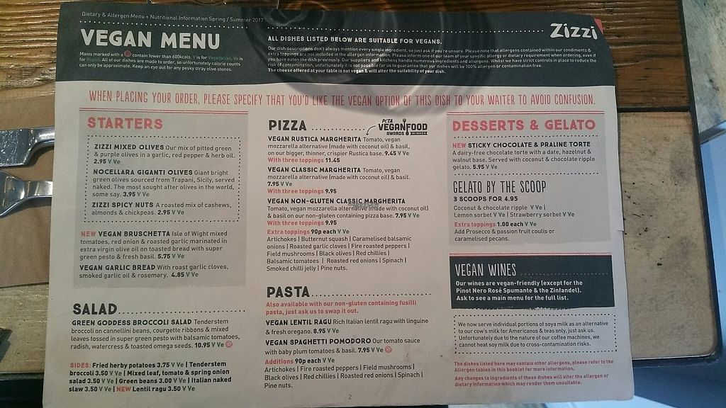 """Photo of Zizzi - East Molesey  by <a href=""""/members/profile/jollypig"""">jollypig</a> <br/>The whole vegan menu <br/> April 30, 2017  - <a href='/contact/abuse/image/77451/254234'>Report</a>"""
