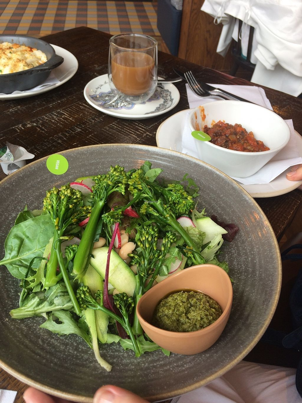 """Photo of Zizzi - Birstall  by <a href=""""/members/profile/Hoggy"""">Hoggy</a> <br/>Vegan 'Green Goddess Salad' with side of vegan 'Lentil Ragu'.  Also featuring Soya milk Coffee <br/> July 23, 2017  - <a href='/contact/abuse/image/77469/283822'>Report</a>"""