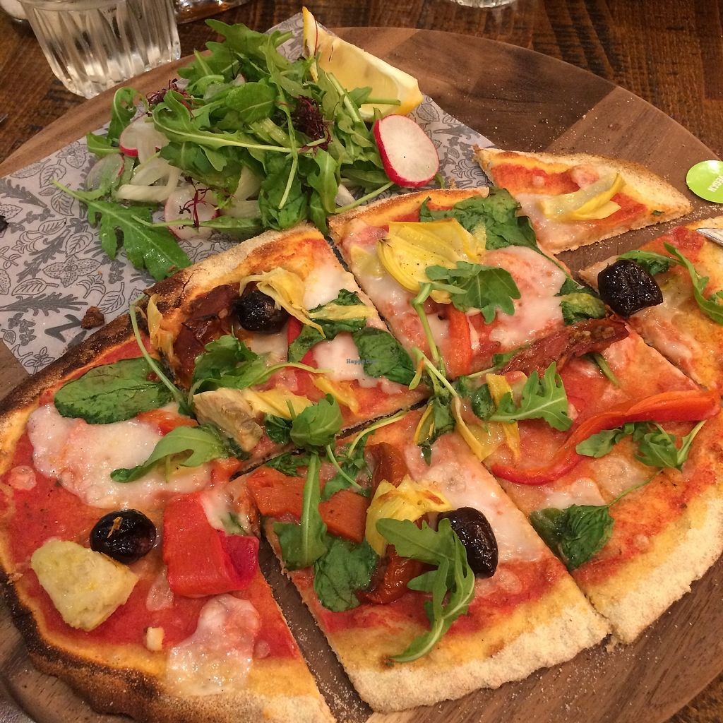 "Photo of Zizzi - The Light  by <a href=""/members/profile/Hoggy"">Hoggy</a> <br/>Veganised 'Skinny Primavera Pizza'. Swapped out for cruelty free alternatives (vegan cheese), served with a side of 'naked slaw' <br/> September 21, 2017  - <a href='/contact/abuse/image/77470/306768'>Report</a>"