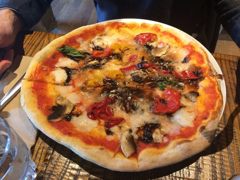 """Photo of Zizzi - Bankside  by <a href=""""/members/profile/LisaCupcake"""">LisaCupcake</a> <br/>The Rustica Margherita pizza, with vegan cheese and three toppings added: caramelized balsamic onions, mushrooms and red peppers <br/> October 31, 2016  - <a href='/contact/abuse/image/77477/185606'>Report</a>"""