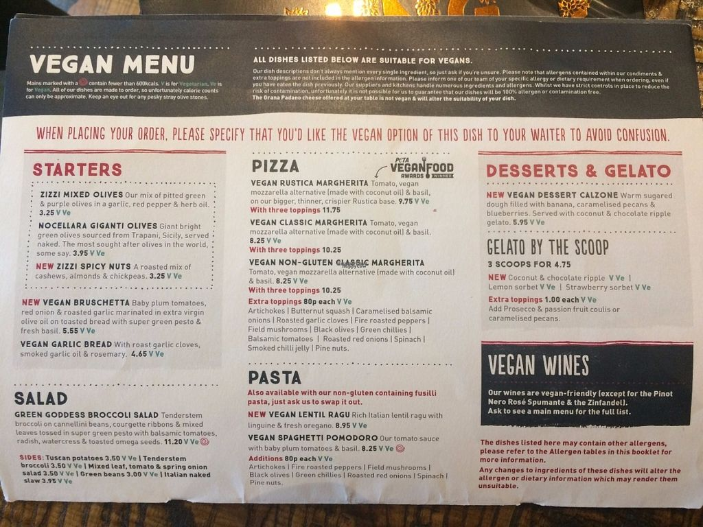 """Photo of Zizzi - Bankside  by <a href=""""/members/profile/LisaCupcake"""">LisaCupcake</a> <br/>The vegan page of the special diets menu booklet (ask for it as soon as you're seated) <br/> October 31, 2016  - <a href='/contact/abuse/image/77477/185609'>Report</a>"""