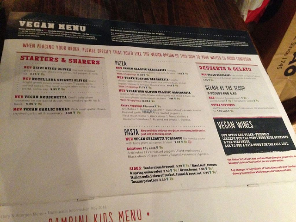 "Photo of Zizzi - Canary Wharf  by <a href=""/members/profile/slo0go"">slo0go</a> <br/>the vegan menu <br/> August 22, 2016  - <a href='/contact/abuse/image/77481/170731'>Report</a>"