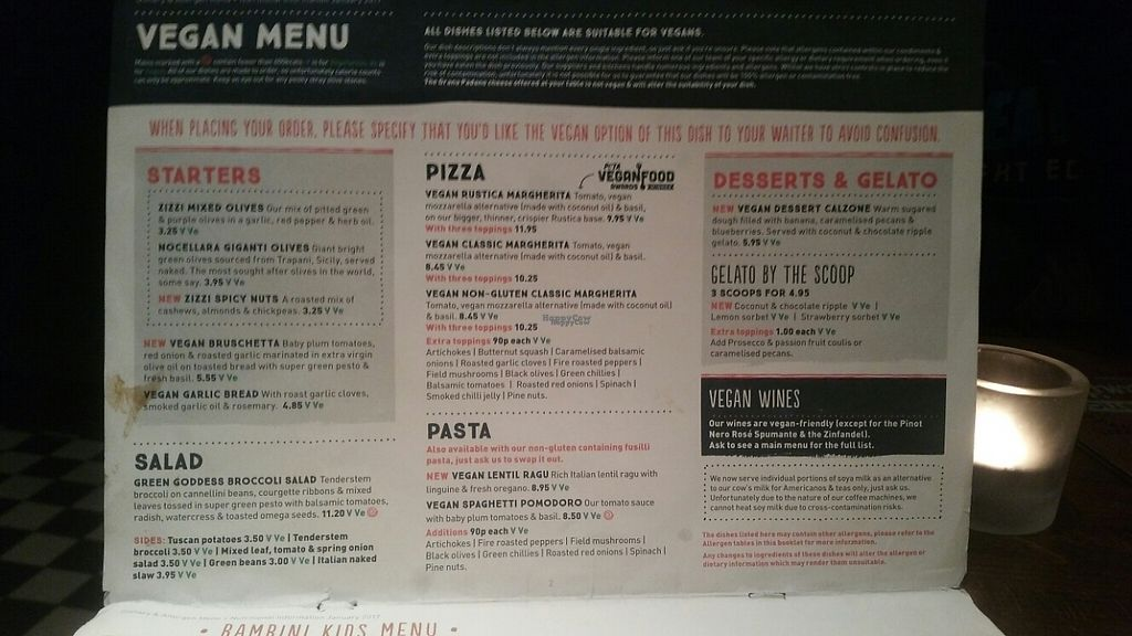 """Photo of Zizzi - Charlotte St  by <a href=""""/members/profile/KatieBatty"""">KatieBatty</a> <br/>The vegan menu <br/> February 7, 2017  - <a href='/contact/abuse/image/77482/223889'>Report</a>"""