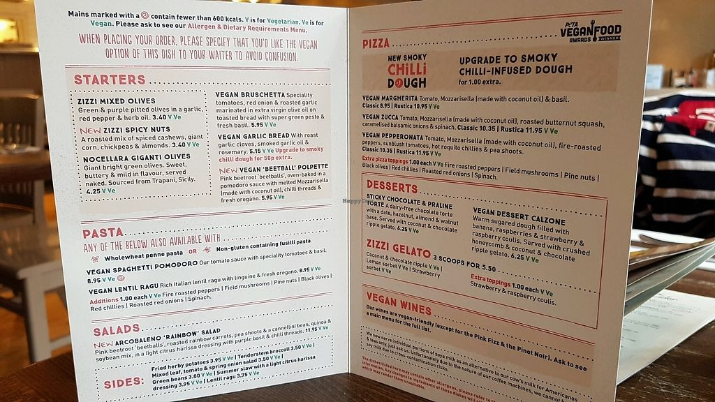 """Photo of Zizzi - Twickenham  by <a href=""""/members/profile/jollypig"""">jollypig</a> <br/>Vegan menu <br/> March 30, 2018  - <a href='/contact/abuse/image/77502/378359'>Report</a>"""