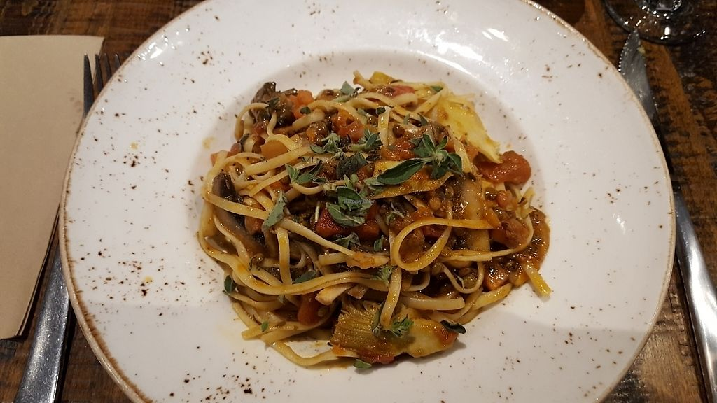 """Photo of Zizzi - Wigmore St  by <a href=""""/members/profile/HappyDe"""">HappyDe</a> <br/>Vegan lentil ragu pasta with artichokes, mushrooms and Pine nuts <br/> June 5, 2017  - <a href='/contact/abuse/image/77508/266105'>Report</a>"""