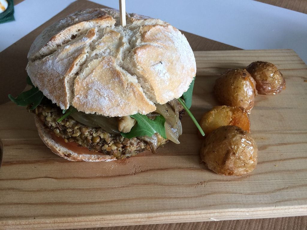 """Photo of Vegano Azul   by <a href=""""/members/profile/mariaig"""">mariaig</a> <br/>vegan burger with perfect oven potatoes.  <br/> July 21, 2017  - <a href='/contact/abuse/image/77546/282677'>Report</a>"""