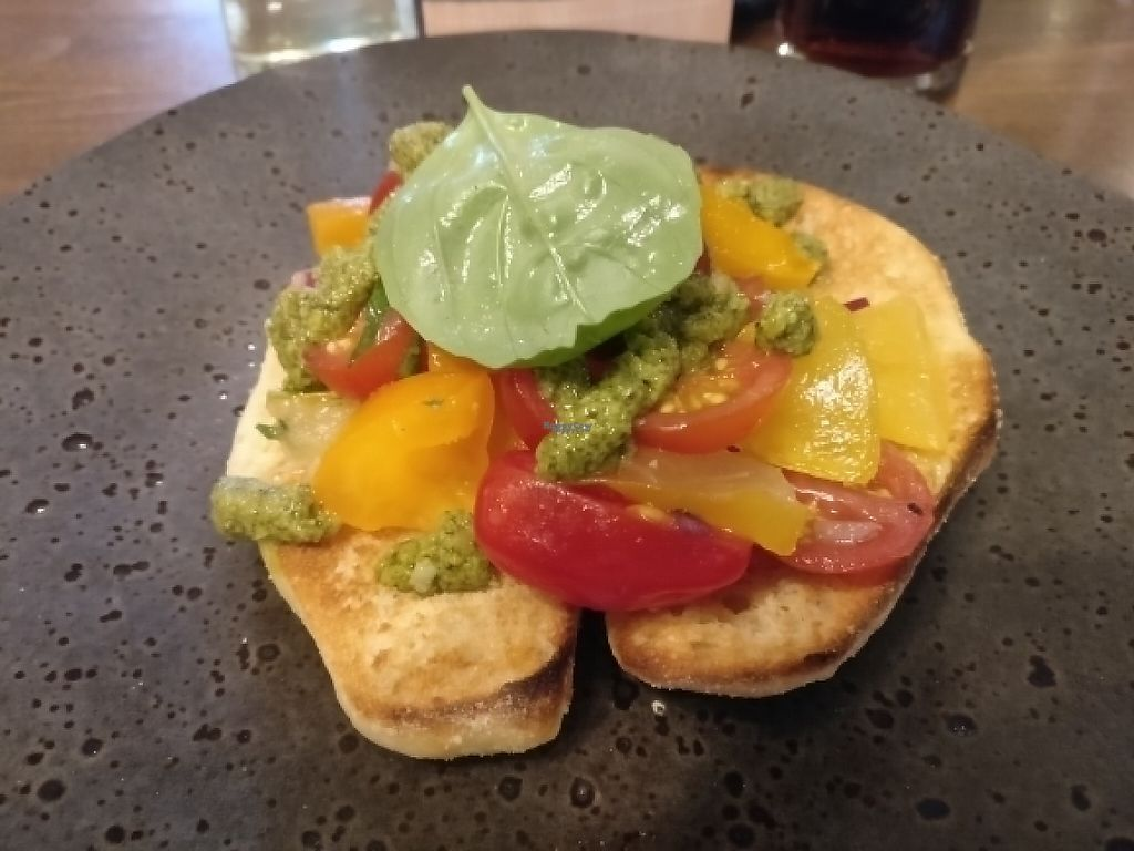 """Photo of Zizzi - Leopold Square  by <a href=""""/members/profile/Meaks"""">Meaks</a> <br/>Vegan bruschetta <br/> April 22, 2017  - <a href='/contact/abuse/image/77569/251110'>Report</a>"""