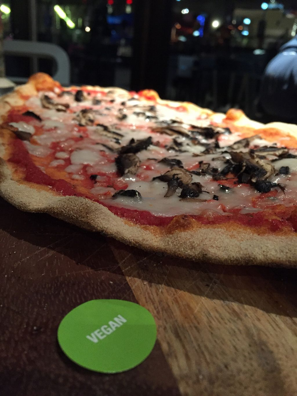 """Photo of Zizzi - Leopold Square  by <a href=""""/members/profile/hack_man"""">hack_man</a> <br/>Margherita pizza with mushrooms on smoky chilli base   <br/> March 24, 2018  - <a href='/contact/abuse/image/77569/375071'>Report</a>"""