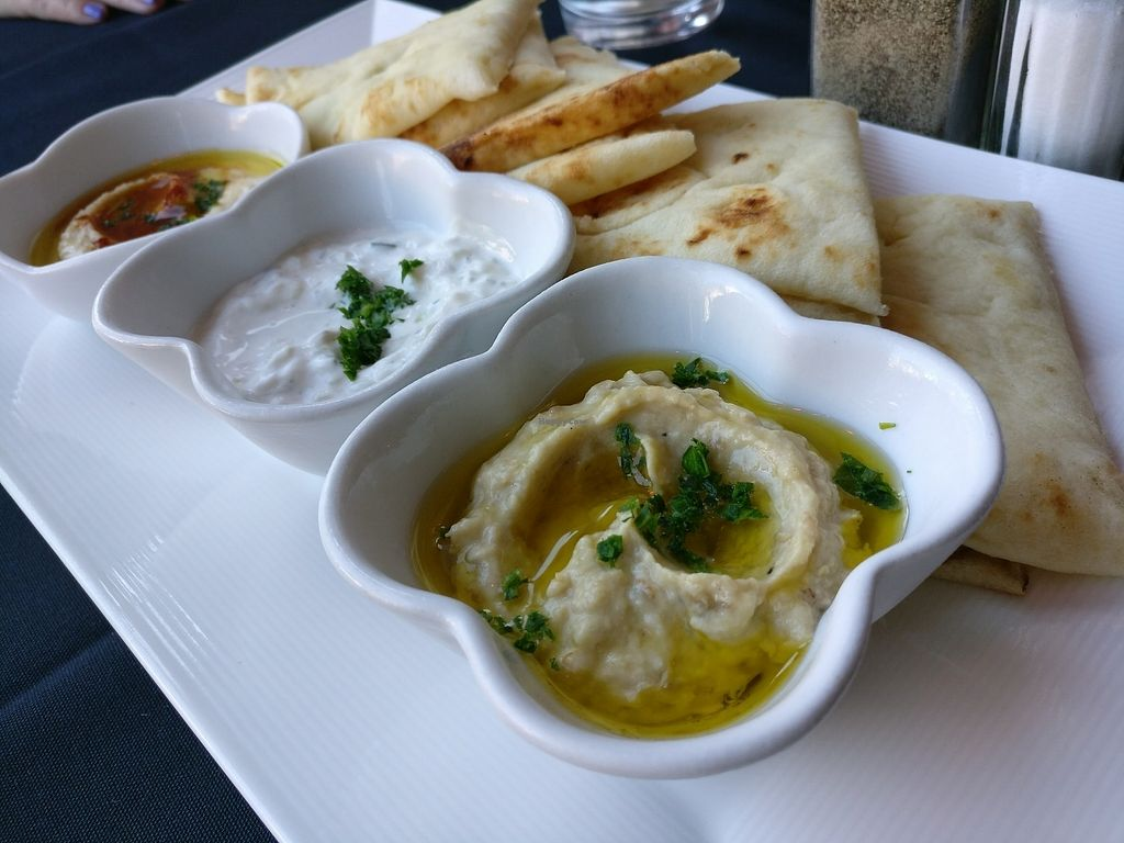 "Photo of Marwan's Global Bistro  by <a href=""/members/profile/cdnvegan"">cdnvegan</a> <br/>Mediterranean Dip Trio <br/> July 17, 2017  - <a href='/contact/abuse/image/77610/281527'>Report</a>"