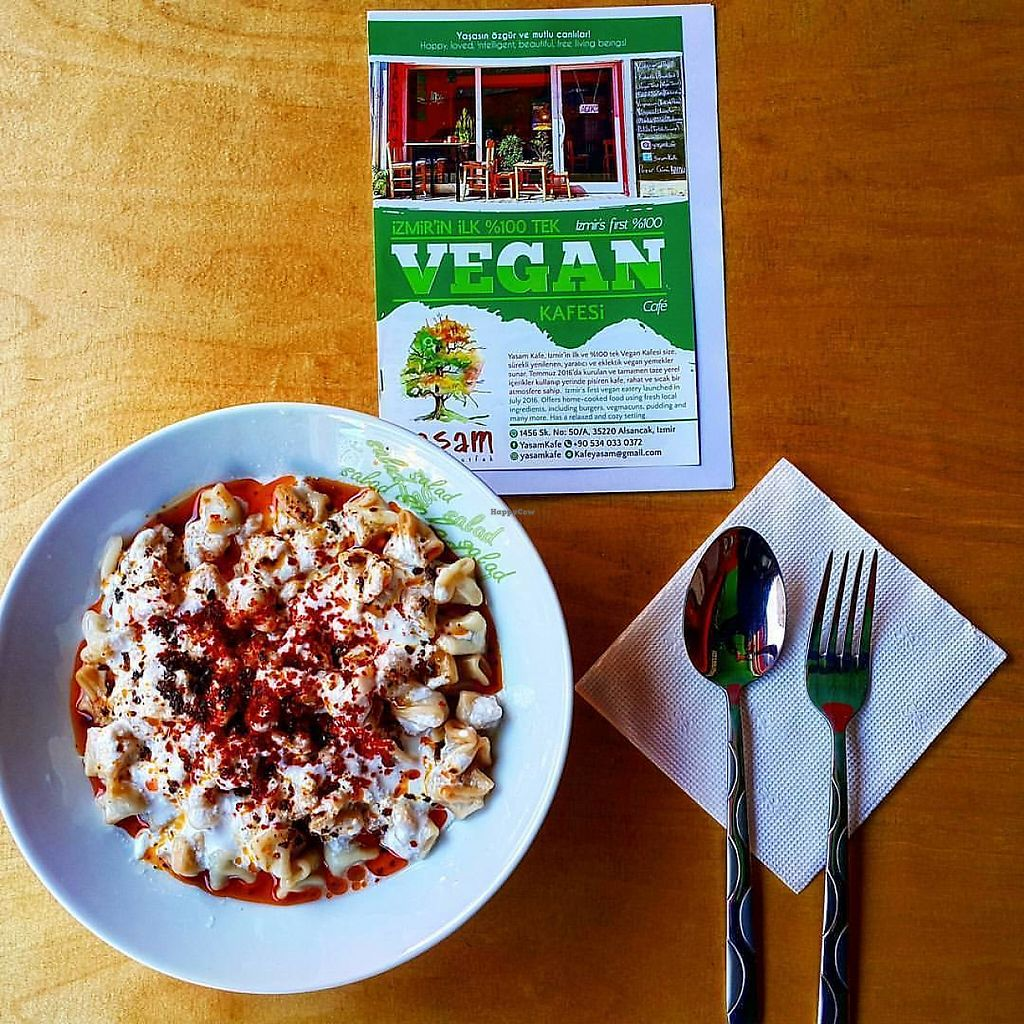 "Photo of Yasam Vegan Kafe  by <a href=""/members/profile/neseliol"">neseliol</a> <br/>Vegan Turkish ravioli with vegan yoghurt <br/> May 5, 2017  - <a href='/contact/abuse/image/77640/255810'>Report</a>"