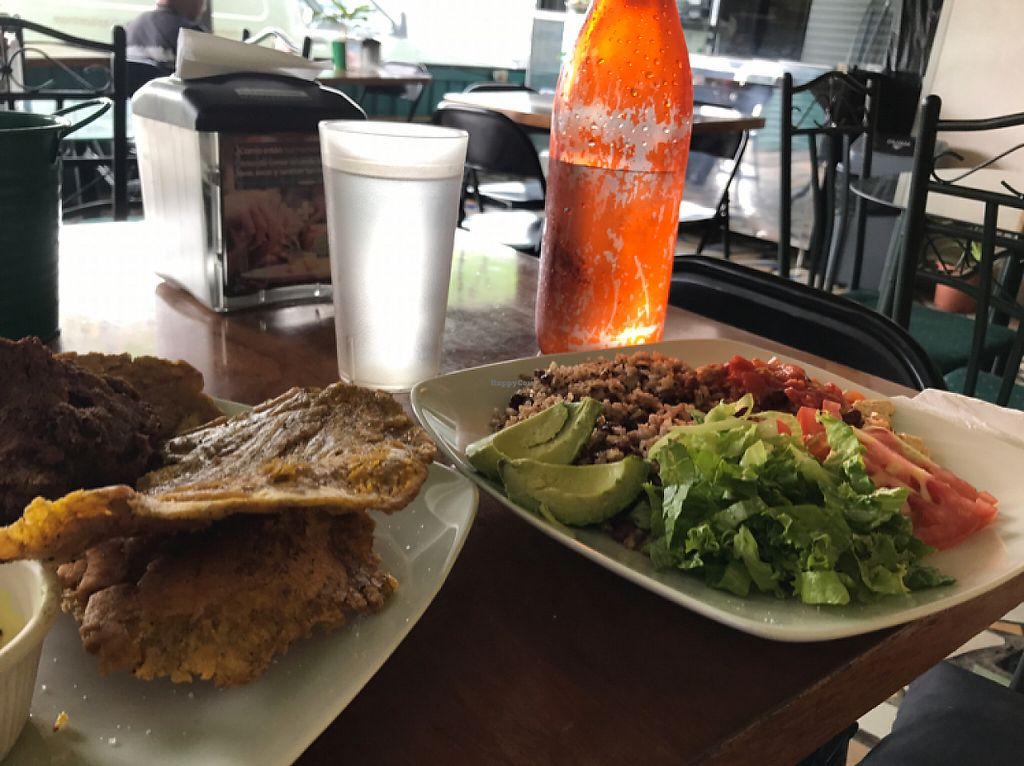 """Photo of La Esquina Vegetariana  by <a href=""""/members/profile/LeoAngulo"""">LeoAngulo</a> <br/>Patacones and pinto con tofu  <br/> May 2, 2017  - <a href='/contact/abuse/image/77658/255022'>Report</a>"""