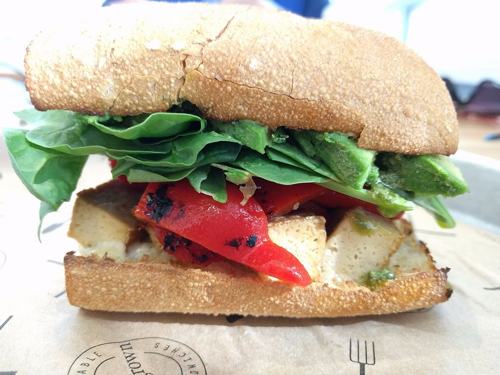 """Photo of Homegrown  by <a href=""""/members/profile/The%20Hungry%20Vegan"""">The Hungry Vegan</a> <br/>Pesto Sandwich with Tofu and Avocado <br/> July 4, 2017  - <a href='/contact/abuse/image/77670/276746'>Report</a>"""