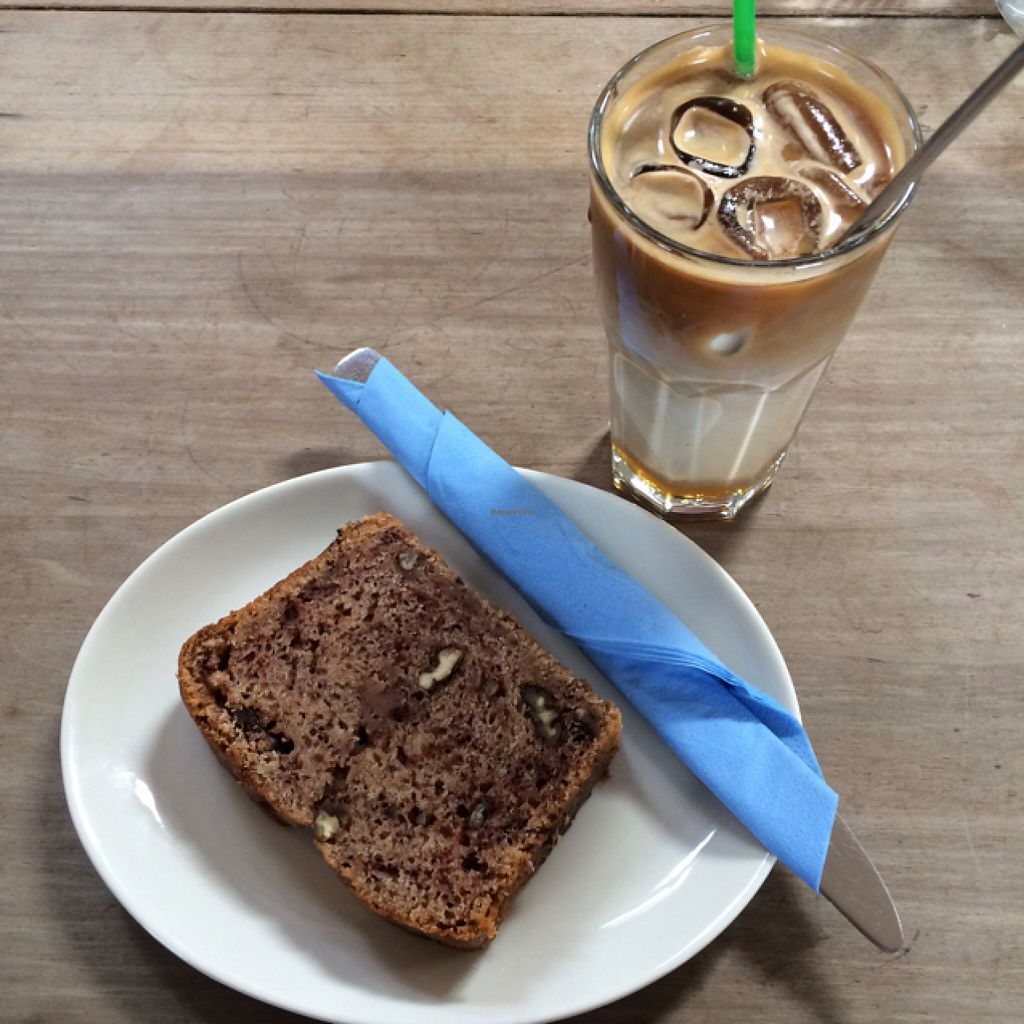 """Photo of Blue Sky Cafe  by <a href=""""/members/profile/LittleAliceFell"""">LittleAliceFell</a> <br/>Banana & Walnut Loaf w/ Iced Soy Latte <br/> July 30, 2016  - <a href='/contact/abuse/image/77671/163615'>Report</a>"""