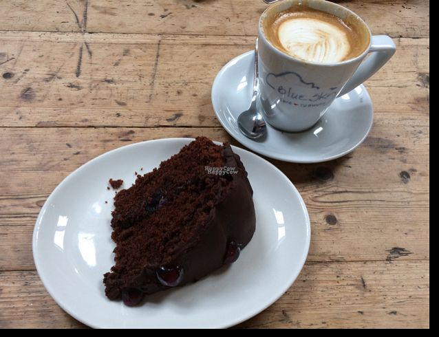 """Photo of Blue Sky Cafe  by <a href=""""/members/profile/LittleAliceFell"""">LittleAliceFell</a> <br/>Vegan Cherry & Chocolate Cake <br/> October 12, 2016  - <a href='/contact/abuse/image/77671/181518'>Report</a>"""