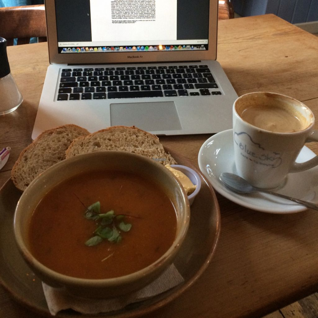 """Photo of Blue Sky Cafe  by <a href=""""/members/profile/LittleAliceFell"""">LittleAliceFell</a> <br/>Soup of the day + soya latte <br/> November 2, 2016  - <a href='/contact/abuse/image/77671/186178'>Report</a>"""