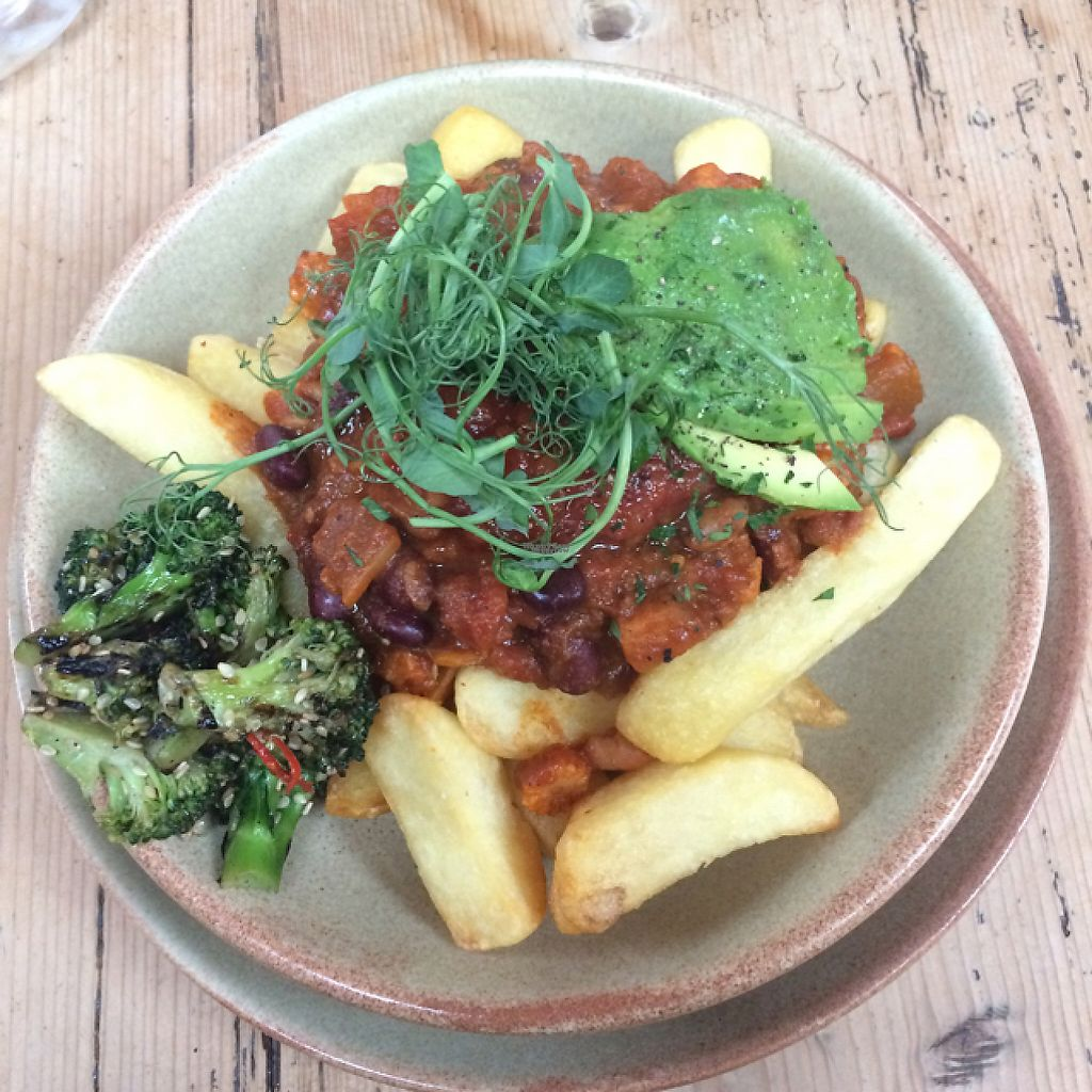 """Photo of Blue Sky Cafe  by <a href=""""/members/profile/LittleAliceFell"""">LittleAliceFell</a> <br/>Vegan chilli & chips <br/> March 13, 2017  - <a href='/contact/abuse/image/77671/235925'>Report</a>"""
