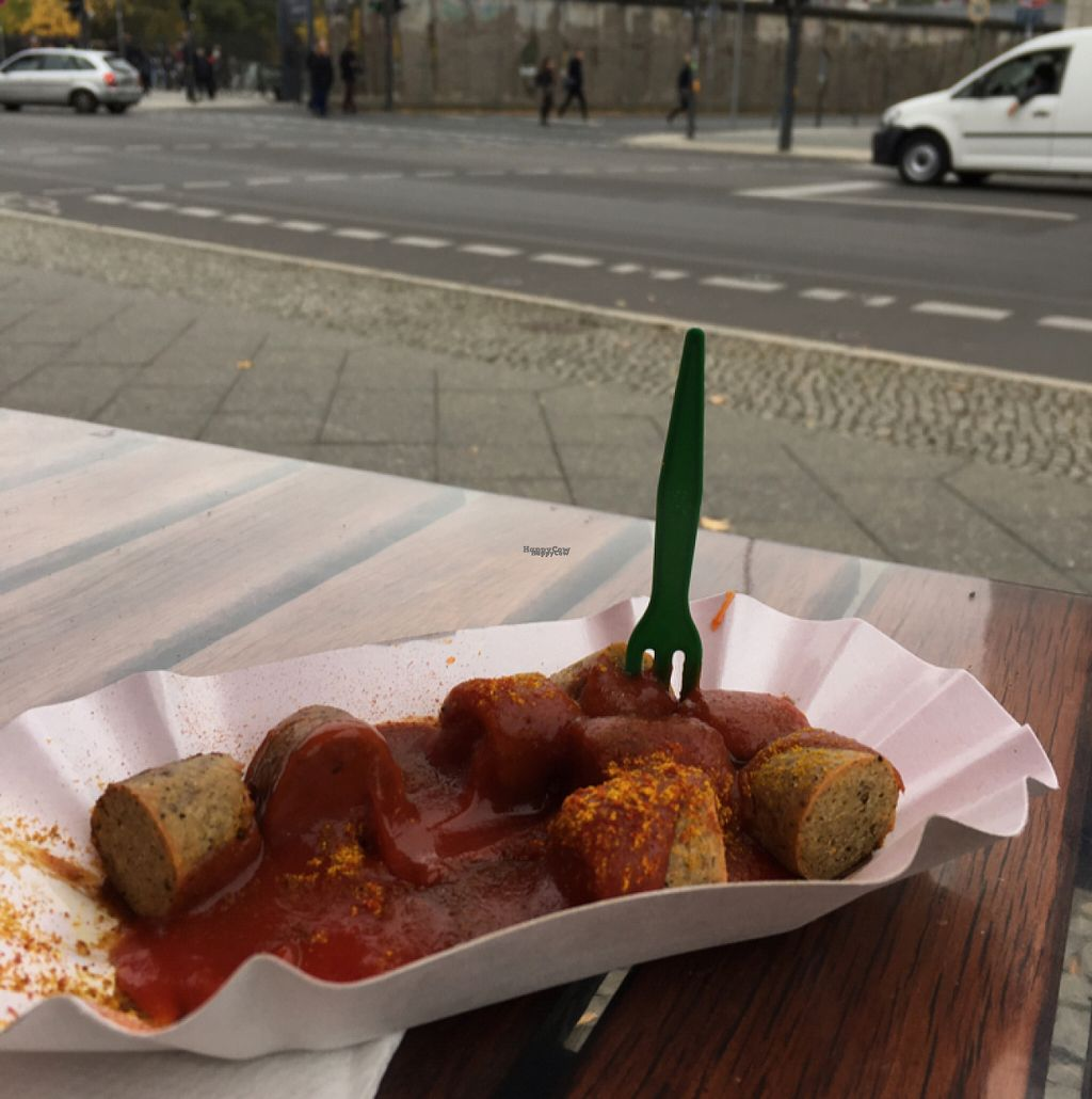 """Photo of Curry at the Wall - Food Stand  by <a href=""""/members/profile/chrisford67"""">chrisford67</a> <br/>Vegan curry wurst with the wall in the background <br/> October 31, 2016  - <a href='/contact/abuse/image/77725/185617'>Report</a>"""