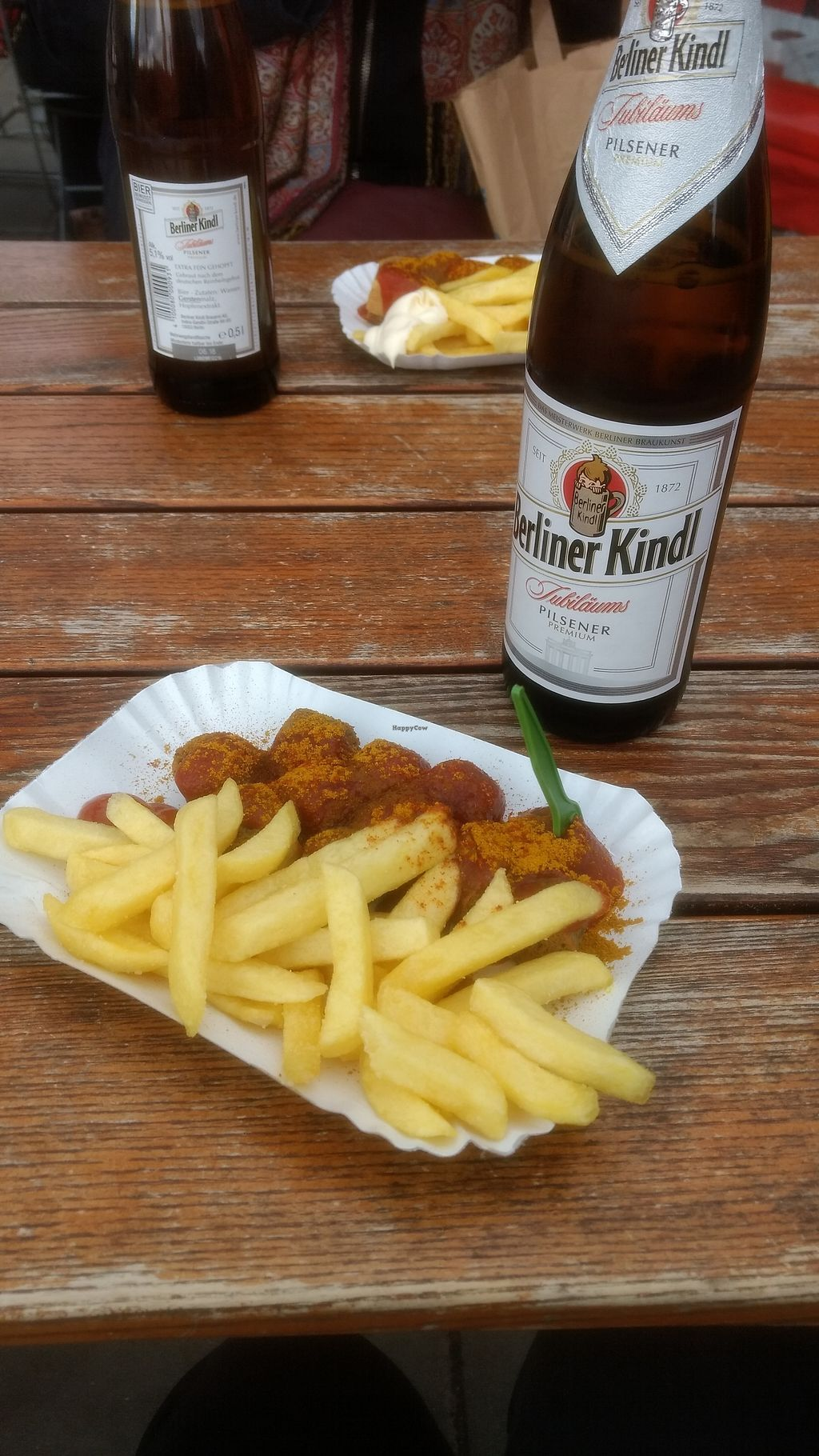"""Photo of Curry at the Wall - Food Stand  by <a href=""""/members/profile/VeggiKitty"""">VeggiKitty</a> <br/>Vegan currywurst and chips (in the background meat currywurst and chips)  <br/> October 17, 2017  - <a href='/contact/abuse/image/77725/316039'>Report</a>"""