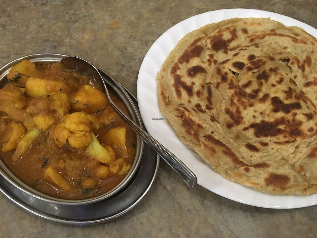 """Photo of Kismet  by <a href=""""/members/profile/Cat_Mamma"""">Cat_Mamma</a> <br/>Aloo Gobi with Paratha bread on the side <br/> July 16, 2017  - <a href='/contact/abuse/image/77766/281003'>Report</a>"""