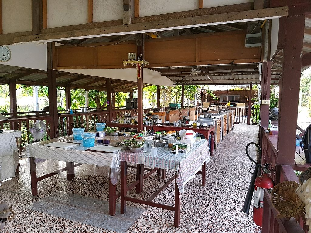 "Photo of Thai Muang Vegetarian Cooking Class  by <a href=""/members/profile/Wanderingvegan"">Wanderingvegan</a> <br/>The cooking school set up-lovely location for the evening class  <br/> April 13, 2018  - <a href='/contact/abuse/image/77771/384980'>Report</a>"