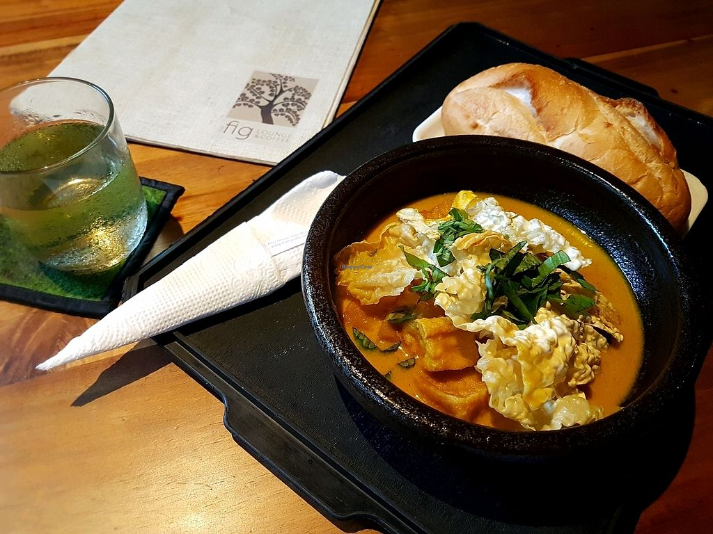 """Photo of The Fig Lounge & Coffee  by <a href=""""/members/profile/PeterRichards"""">PeterRichards</a> <br/>veggie curry and bread <br/> September 22, 2017  - <a href='/contact/abuse/image/77828/307043'>Report</a>"""