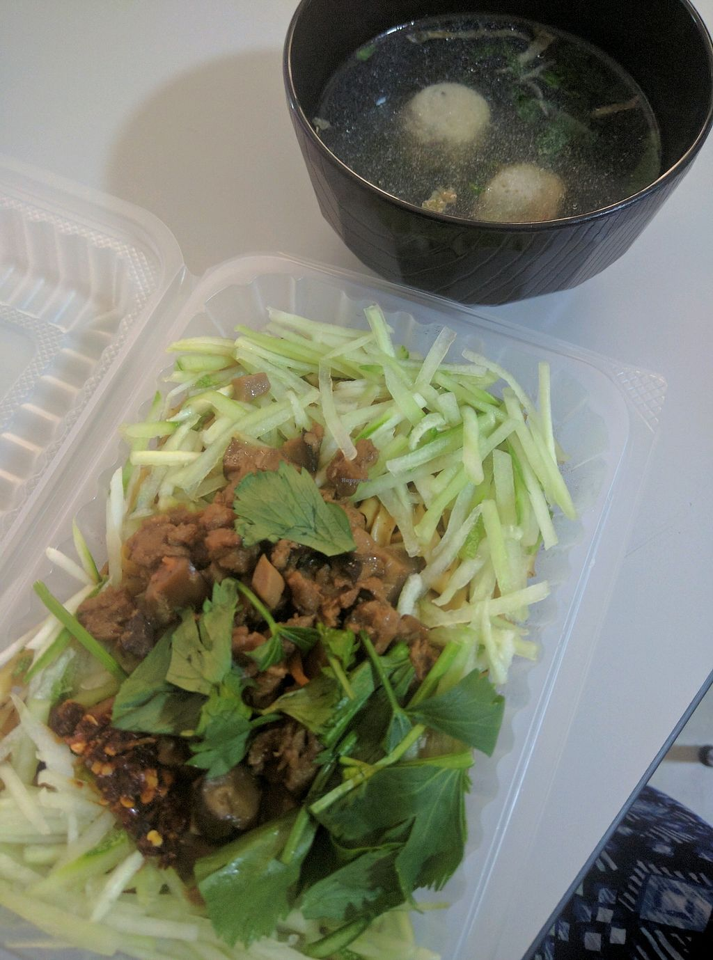 "Photo of Green Rabbit Vegetarian Kitchen  by <a href=""/members/profile/Summer_Tan"">Summer_Tan</a> <br/>N3: Tasty Spicy Dry Noodle - RM7.90 Good noodles, with minced soy mock meat and mushrooms. Not spicy at all, flavour is just ok. Well balanced with the fresh herbs and cucumbers. Comes with a side of soup that is just ok <br/> February 3, 2018  - <a href='/contact/abuse/image/77842/354501'>Report</a>"