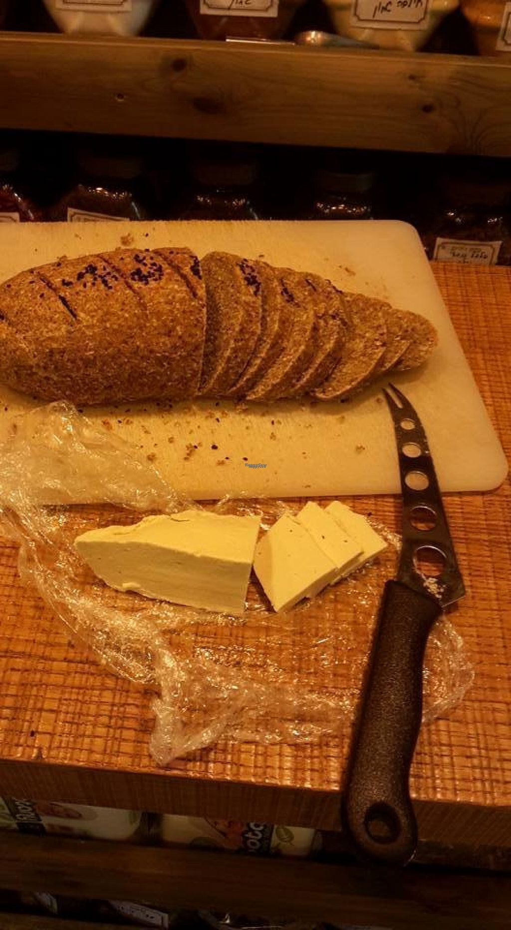 """Photo of Taam L'Chaim - Taste for Life  by <a href=""""/members/profile/Brok%20O.%20Lee"""">Brok O. Lee</a> <br/>Bread and vegan cheese <br/> August 3, 2016  - <a href='/contact/abuse/image/77845/164819'>Report</a>"""
