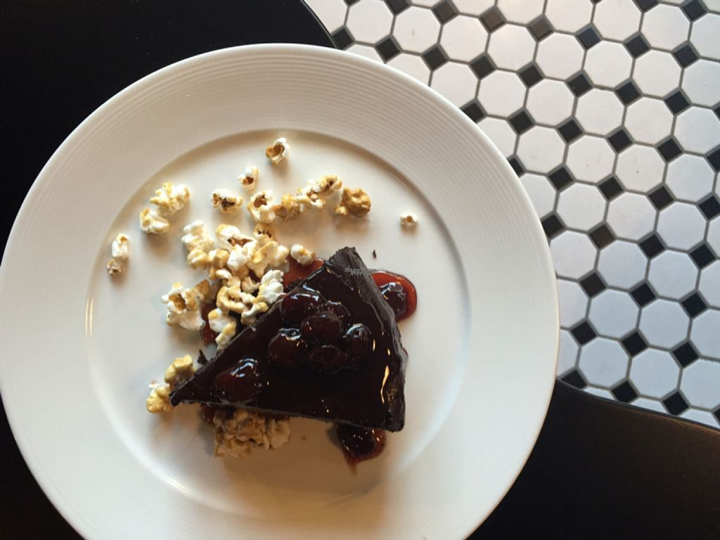 "Photo of Liberty Food & Wine Exchange  by <a href=""/members/profile/AmeliaC"">AmeliaC</a> <br/>rich and dense chocolate cake with cherry sauce and caramels corn!  <br/> August 6, 2016  - <a href='/contact/abuse/image/77850/165998'>Report</a>"