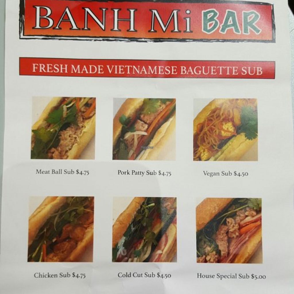"Photo of Banh Mi Bar  by <a href=""/members/profile/Zo"">Zo</a> <br/>menu <br/> August 3, 2016  - <a href='/contact/abuse/image/77867/164804'>Report</a>"