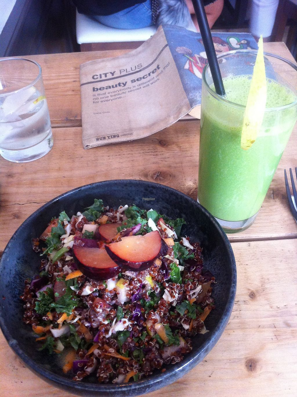 "Photo of Hope  by <a href=""/members/profile/piffelina"">piffelina</a> <br/>Quinoa salad and a green juice <br/> December 22, 2016  - <a href='/contact/abuse/image/77877/204024'>Report</a>"