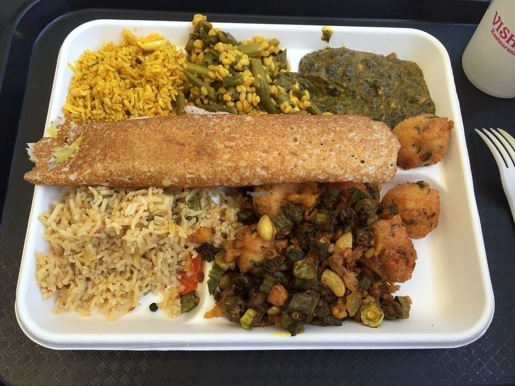 """Photo of Vishnu Restaurant & Catering  by <a href=""""/members/profile/Veganbloke"""">Veganbloke</a> <br/>Meal w dosa <br/> August 4, 2016  - <a href='/contact/abuse/image/77893/165457'>Report</a>"""