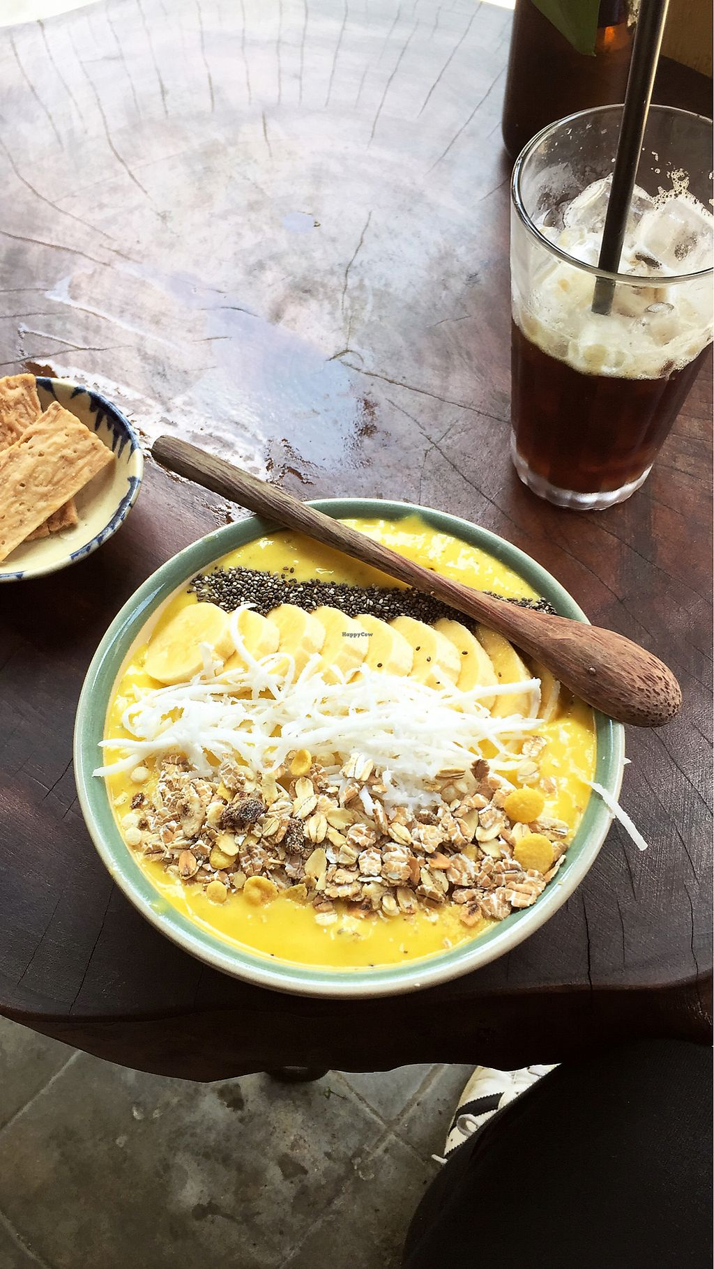 """Photo of Rosie's Cafe  by <a href=""""/members/profile/AmandaKelly"""">AmandaKelly</a> <br/>Banana mango smoothie bowl & iced coffee  <br/> April 19, 2018  - <a href='/contact/abuse/image/77938/387986'>Report</a>"""