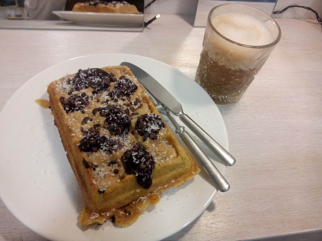 """Photo of Makers Kahvila  by <a href=""""/members/profile/Lapa"""">Lapa</a> <br/>Glutenfree peanutbutter blueberryjam waffle and soymilklatte <br/> August 26, 2016  - <a href='/contact/abuse/image/77959/171594'>Report</a>"""