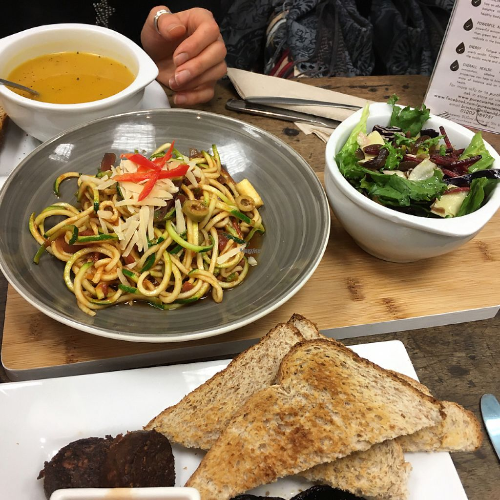 """Photo of PURE Cuisine  by <a href=""""/members/profile/Lolieke"""">Lolieke</a> <br/>Soup of the day & Zucchini Spaghetti <br/> December 11, 2016  - <a href='/contact/abuse/image/77962/199338'>Report</a>"""