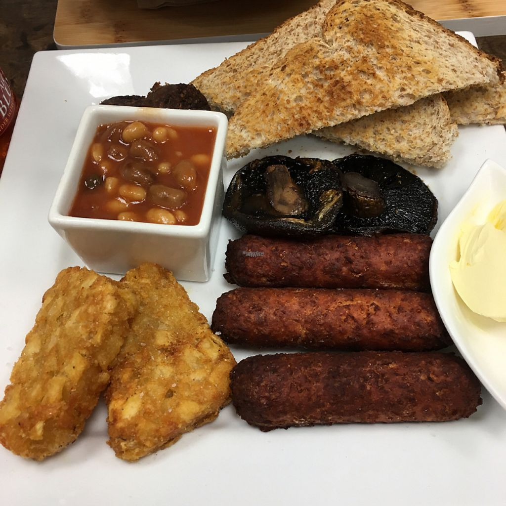 """Photo of PURE Cuisine  by <a href=""""/members/profile/Lolieke"""">Lolieke</a> <br/>Gut Buster All Day Vegan Breakfast (- grilled tomatoes + extra sausage) <br/> December 11, 2016  - <a href='/contact/abuse/image/77962/199341'>Report</a>"""