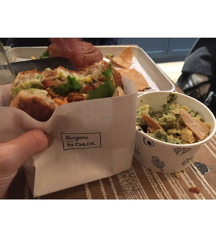 """Photo of By Chloe - Flatiron  by <a href=""""/members/profile/RachelLove"""">RachelLove</a> <br/>Guac Burger and kale dip <br/> December 23, 2017  - <a href='/contact/abuse/image/77964/338364'>Report</a>"""