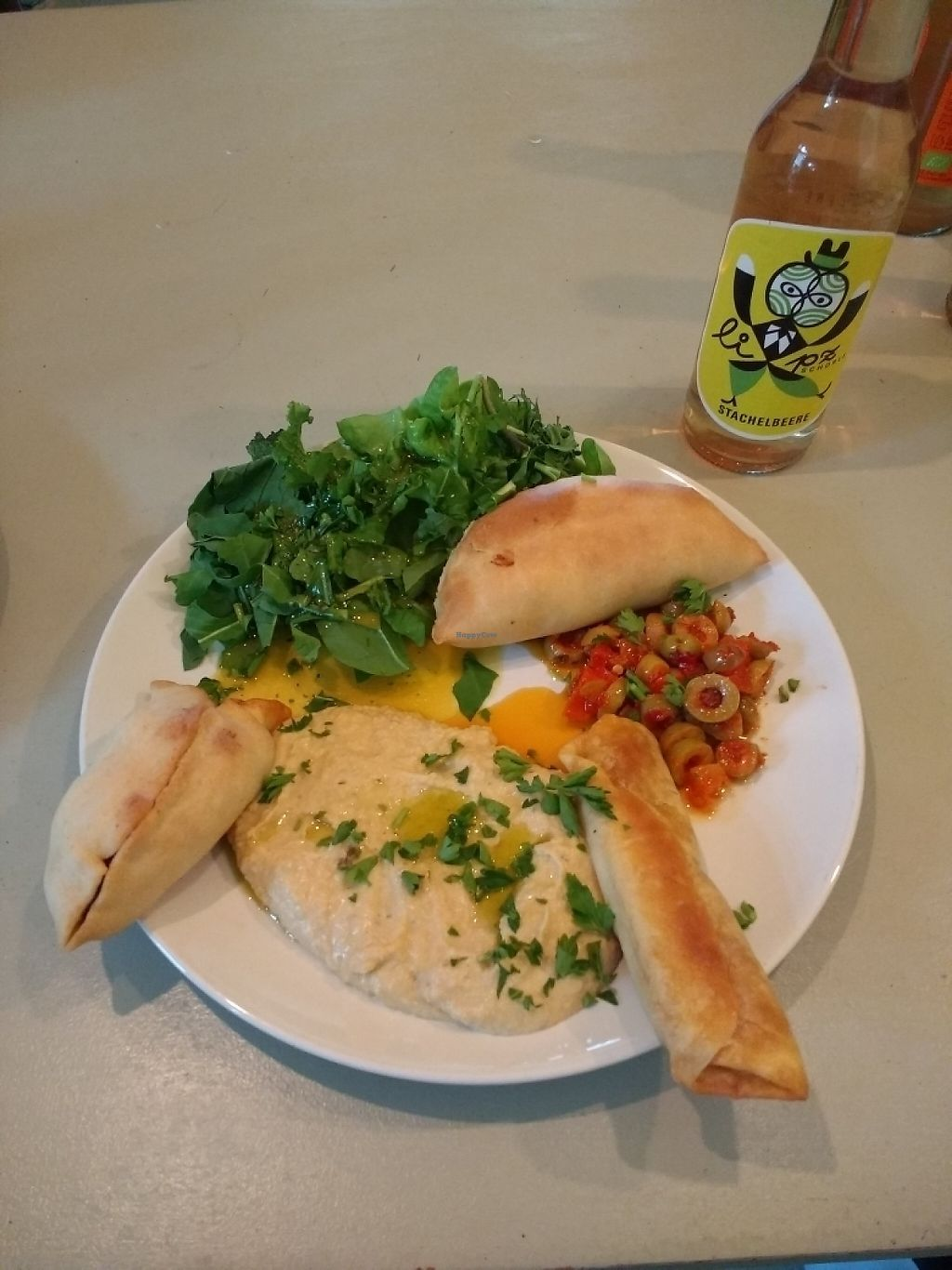 """Photo of CLOSED: Superfood  by <a href=""""/members/profile/Happymangoman"""">Happymangoman</a> <br/>syrian filled dough, hummus, olives, salad <br/> May 4, 2017  - <a href='/contact/abuse/image/77966/255523'>Report</a>"""