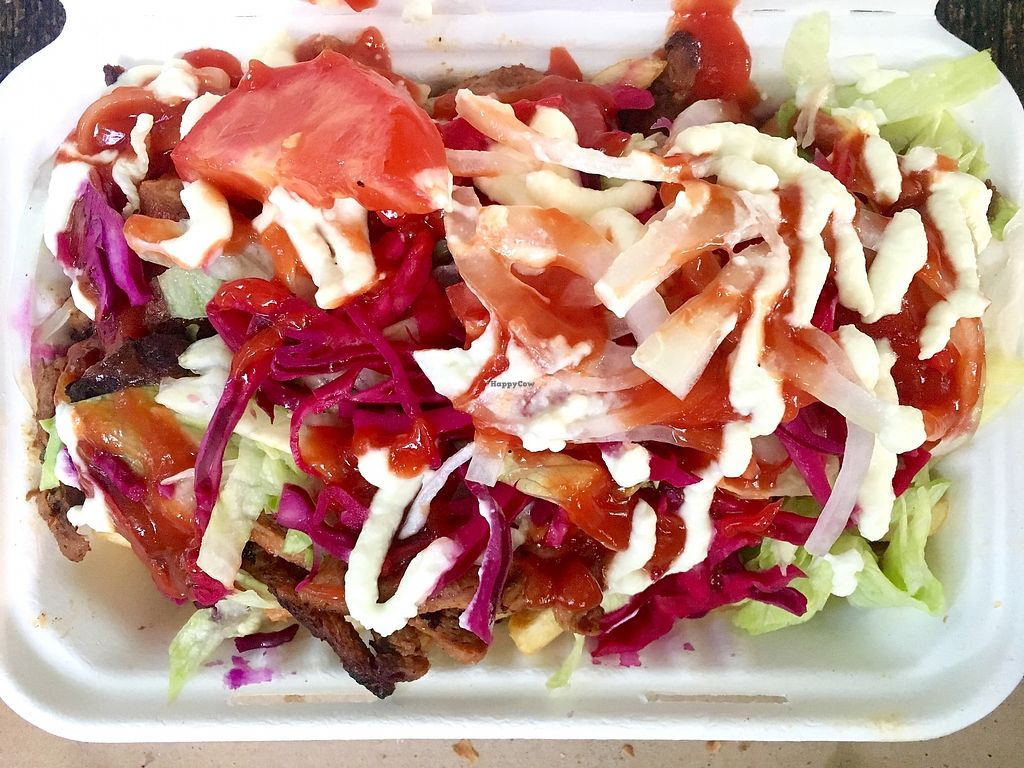 "Photo of What The Pitta - Shoreditch  by <a href=""/members/profile/jon%20active"">jon active</a> <br/>The Doner kebab and chips in a box covered with salad and sauces <br/> August 17, 2017  - <a href='/contact/abuse/image/77970/293677'>Report</a>"