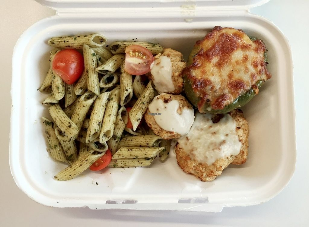 """Photo of YoHoy  by <a href=""""/members/profile/Longina"""">Longina</a> <br/>Veggie meal of the day: vegetable croquettes with gorgonzola sauce, pasta with basil and cherry tomatoes, stuffed green pepper (quinoa, carrot and green bean stuffing). Dessert was a churchill brigadeiro <br/> August 24, 2016  - <a href='/contact/abuse/image/77989/171275'>Report</a>"""