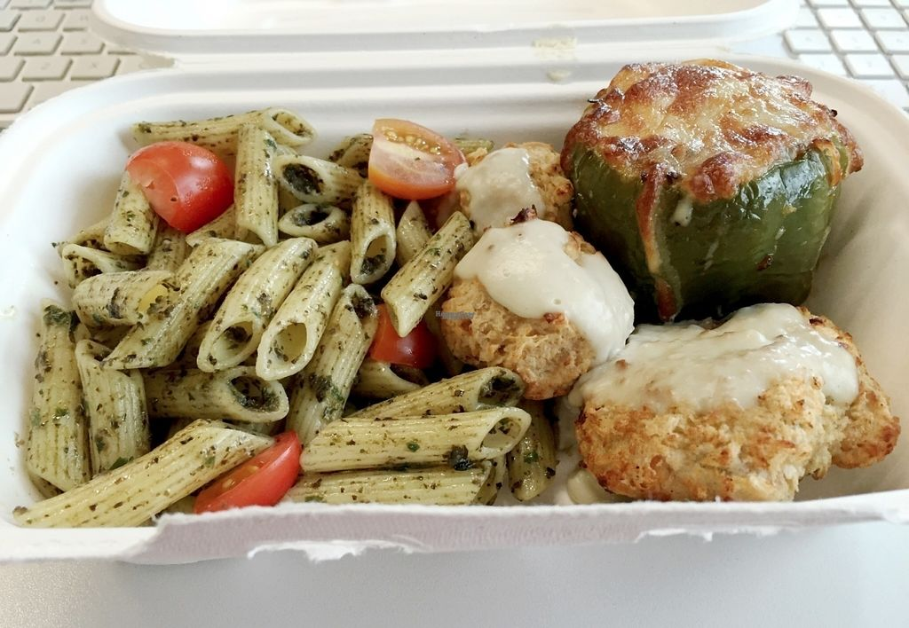 """Photo of YoHoy  by <a href=""""/members/profile/Longina"""">Longina</a> <br/>Veggie meal of the day: vegetable croquettes with gorgonzola sauce, pasta with basil and cherry tomatoes, stuffed green pepper (quinoa, carrot and green bean stuffing). Dessert was a churchill brigadeiro <br/> August 24, 2016  - <a href='/contact/abuse/image/77989/171276'>Report</a>"""