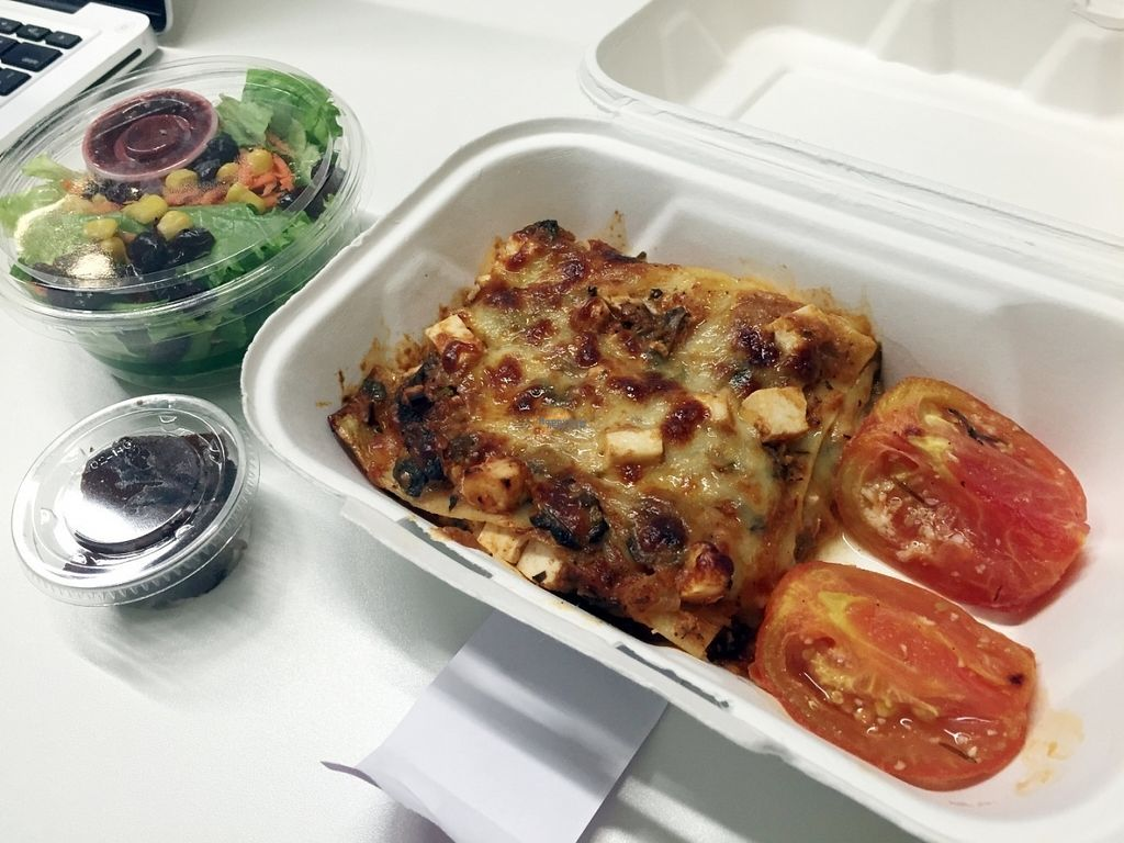 """Photo of YoHoy  by <a href=""""/members/profile/Longina"""">Longina</a> <br/>Veggie lasagna, roasted tomatoes, side salad with blackberry dressing and mini brownie <br/> September 5, 2016  - <a href='/contact/abuse/image/77989/173789'>Report</a>"""