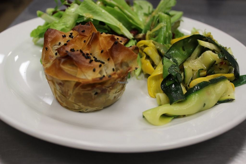 """Photo of The Pod  by <a href=""""/members/profile/AliceTahi"""">AliceTahi</a> <br/>Mushroom and spinach filo tart and salads <br/> August 5, 2016  - <a href='/contact/abuse/image/78005/165661'>Report</a>"""