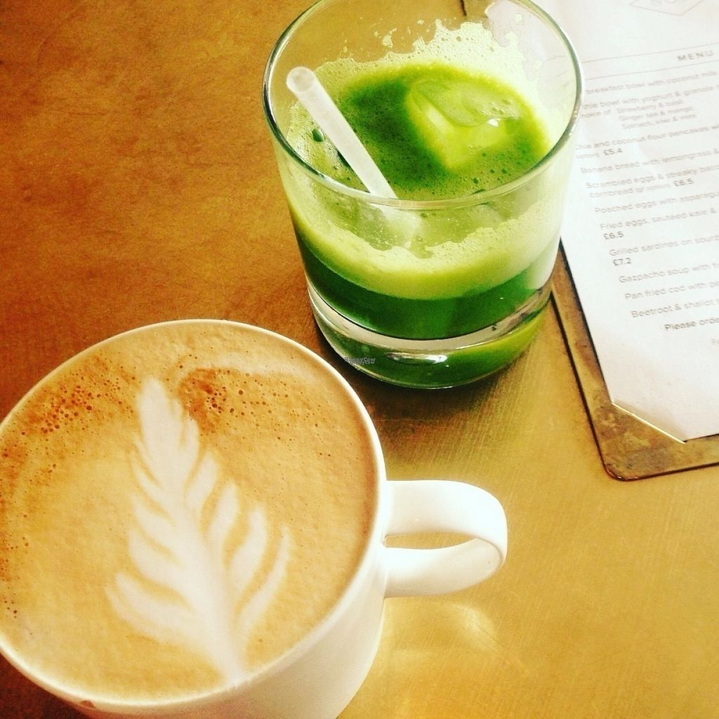 """Photo of NOVI  by <a href=""""/members/profile/NoviCambridge"""">NoviCambridge</a> <br/>Cafe latte (plant milk always available) Green smoothie <br/> August 13, 2016  - <a href='/contact/abuse/image/78027/168118'>Report</a>"""